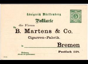 Württemberg, ungebr. 5 Pf. Ganzsache m. Zudruck Martens&Co. Zigarren Bremen