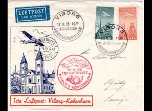 Dänemark 1939, 15+20 öre Luftpost auf schönem Erstflug Brief Viborg-Kopenhagen