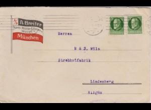 Bayern 1918, Werbung Reklame Umschlag Militär Ausstatter Breiter München. #312