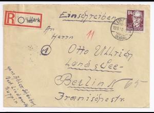DDR 1950, Lindow Mark, Brief m. eingestempeltem Einschreiben Zettel. #1823