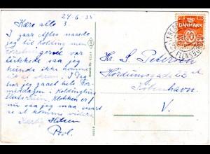 Dänemark 1935, Bahnpost Stpl. FREDERICIA-FLENSBURG auf Karte m. 10 öre.