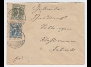 Oberschlesien 1921, 20+40 Pf auf Brief m Stpl. Bauerwitz (Kr. Leobschütz). #1499