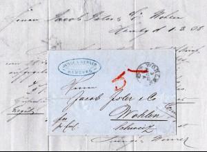 Hamburg 1868, privat bis Wohlen transportierter Brief i.d. Schweiz. Forwarder