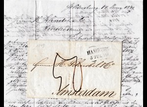 Russland 1849, forwarder Brief v. St. Petersburg, ab Hamburg n. NL