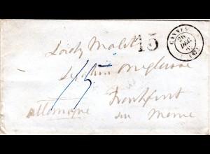 "Frankreich-Taxis 1862, Brief CANNES - Frankfurt m. Porto Stpl. ""15"" (Kreuzer)"