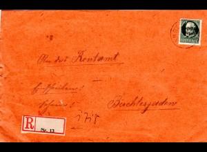 Bayern 1919, 60 Pf. Volksstaat auf Einschreiben Brief v. K1 ANGER. Reko-Zettel!