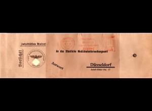 DR 1939, Versandtasche f. Infektiöses Material m. Amts-Freistpl. Düsseldorf