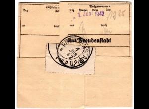 DR 1942, Telegramm aus Lindow m. Stpl. u. Verschlussetikett v. FREUDENSTADT