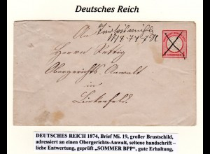 DR 1874, TÜRKISMÜHLE, hds. Entwertung auf 1 Gr. Ganzsache Brief n. Birkenfeld.
