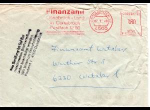 BRD 1989, Briefautomation, beschädigter Brief v. OSNABRÜCK m. Hinweis Stempel.