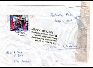 BRD 1992, Briefautomation, beschädigter Brief v. ARNSBERG m. Hinweis Stempel.