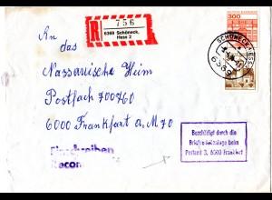 BRD 1984, Briefautomation, beschädigter Brief v. SCHÖNECK m. Hinweis Stempel.