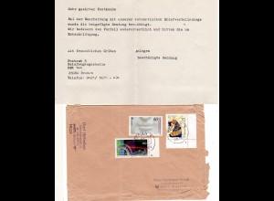 BRD 1994, Briefautomation, beschädigter Brief v. BREMEN m. Hinweis Einlagezettel