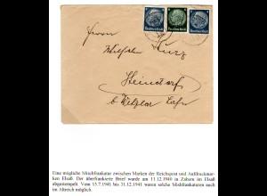 Elsass 1941, 2x4 Pf. DR in Mischfrankatur m. 6 Pf auf Brief v. Zabern
