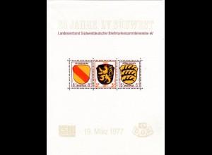 25 Jahre LV Südwest, Erinnerungsblock m. Nachempfindung v. Französ. Zone Marken