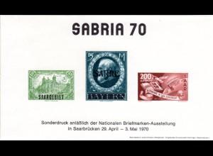 Saarbrücken, Erinnerungsblock m. Nachdruck v. 3 Saar Marken zur Ausstellung 1970