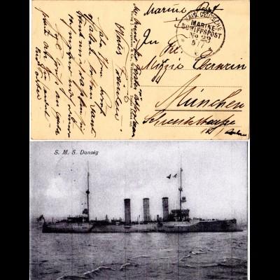 KD Marine Schiffspost No.23 auf AK SMS DANZIG 1916 n. Bayern
