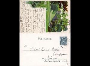 Bayern 1898, Private Stadtpost München, 1 1/2 Pf. auf Künstler AK Engl. Garten
