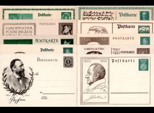 DR, kl. Sammlung m. 10 ungebr. Ganzsachen, meist m. Abbildungen