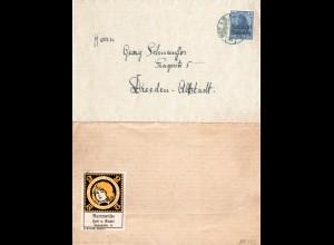 Bayern 1920, 20 Pf. Freistaat auf Brief v. Hof. m. rücks. Hof Vignette