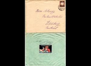 Bayern 1920, 20/3 Pf. auf Brief v. Landshut m. rückseitiger Verschluss Vignette