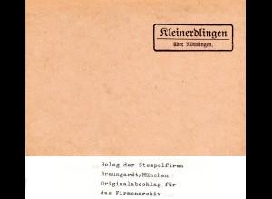 Landpoststellen Stpl. KLEINERDLINGEN über Nördlingen, Originalprobe aus Archiv