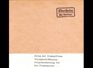 Landpoststellen Stpl. EDERHEIM über Nördlingen, Originalprobe aus Archiv