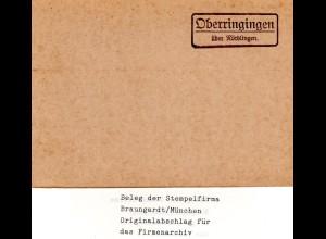 Landpoststellen Stpl. OBERRINGINGEN über Nördlingen, Originalprobe aus Archiv