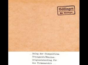 Landpoststellen Stpl. GÖLLINGEN über Nördlingen, Originalprobe aus Archiv