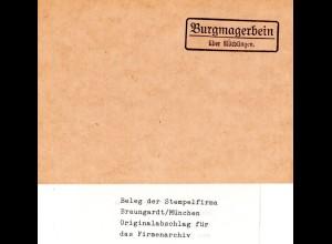 Landpoststellen Stpl. BURGMAGERBEIN über Nördlingen, Originalprobe aus Archiv