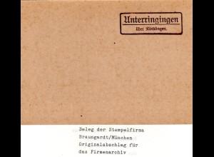 Landpoststellen Stpl. UNTERRINGINGEN über Nördlingen, Originalprobe aus Archiv