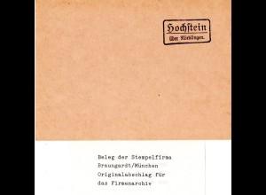 Landpoststellen Stpl. Hochstein über Nördlingen, Originalprobe aus Archiv