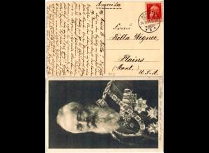 Bayern 1911, 10 Pf. Luitpold Type I auf entsprechender AK v. München n. USA