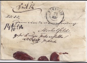 Baden 1868, K2 Sinsheim auf gesiegeltem Brief m. Portovermerk 10 Kr. erh. #1482