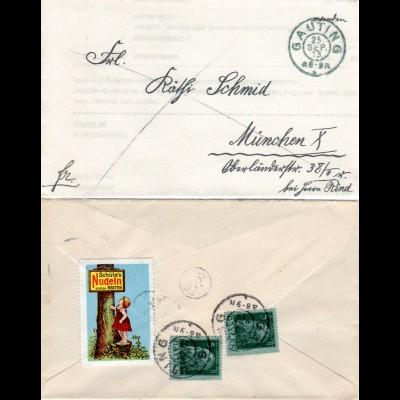 Bayern 1913, 2x5 Pf. u. attraktive Werbe Vignette rücks auf Brief v. GAUTING