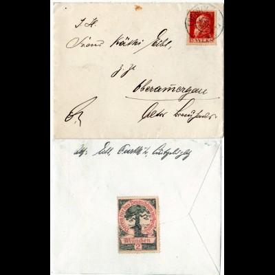 Bayern 1911, 10 Pf. auf Brief v. FÜRTH m. rücks. Deutschtum Spenden Vignette