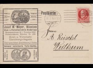 Bayern 1919, 15 Pf. auf Porzellan Glas Reklame Werbung Karte v. München. #1927