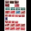 USA, Sammlung m. 150 gebr. Marken auf 4 Seiten. Einige höhere Werte