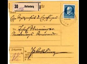 Bayern 1918, 20 Pf. auf portoermäßigter Soldaten Paketkarte v. RATTENBERG