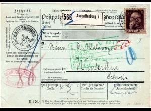 Bayern 1912, EF 80 Pf. Luitpold Type I auf Paketkarte v. ASCHAFFENBURG i.d. CH