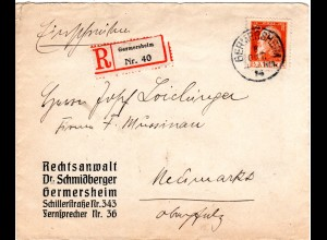 Bayern 1913, EF 30 Pf. Luitpold auf Einschreiben Brief v. GERMERSHEIM