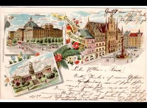 Gruss aus München m. Justizpalast u. Rathaus, 1898 gebr. Litho-AK