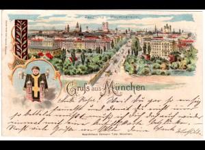 Gruss aus München, Panorama v. Maximilianeum, 1899 gebr. Litho-AK