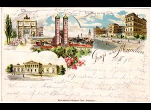 Gruss aus München m. Glyptothek u. Akademie, 1898 gebr. Litho-AK