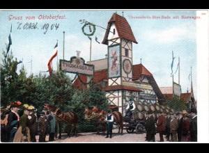 München, Gruss v. Oktoberfest 1904 m. Thomasbraü u. Bierwagen, ungebr. Farb-AK