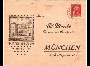 Bayern 1912, K2 Eching b. Freising auf Reklame Rück Brief v. München. #2611