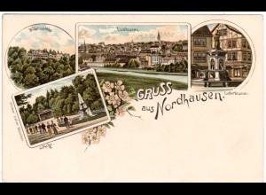 Gruss aus Nordhausen m. Luther Brunnen u. Wilhelmshöhe, ungebr. Litho-AK