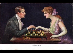 Dame u. Herr beim Schach Spiel, A lost game, ungebr. Farb-AK