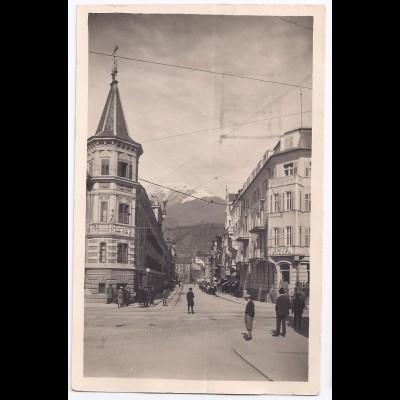 Italien, Meran Merano mit Café Europa, Südtirol Trentino Foto AK.#543