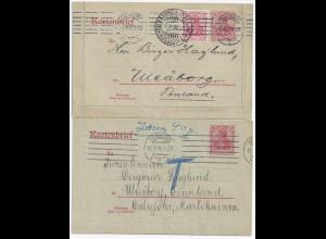 DR Finnland, 2 Karten Brief v. Hamburg,1mal mit Nach Porto 40 Penni. #318